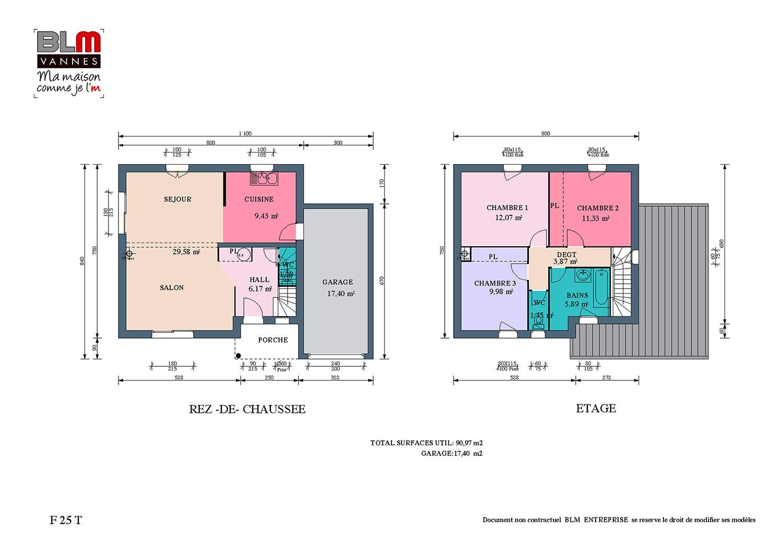 Lecousse construction maison neuve terrain de 333 m2 mod le f25t blm 35 for Prix construction maison neuve m2 2015